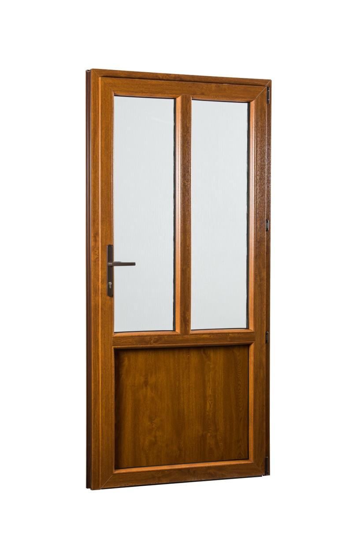 SKLADOVE-OKNA.sk - Vedľajšie vchodové dvere PREMIUM, pravé - 980 x 2080 mm, barva biela/zlatý dub