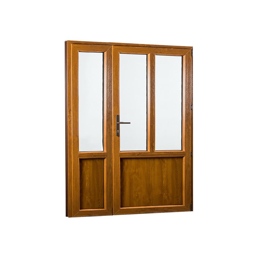 SKLADOVE-OKNA.sk - Vedľajšie vchodové dvere dvojkrídlové, pravé, PREMIUM - 1480 x 2080 mm, barva biela/zlatý dub