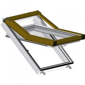 SKLADOVÉ-OKNÁ.sk, Plastové okno Premium - farba zlatý dub, hnedé oplechovanie, 55cm x 78cm