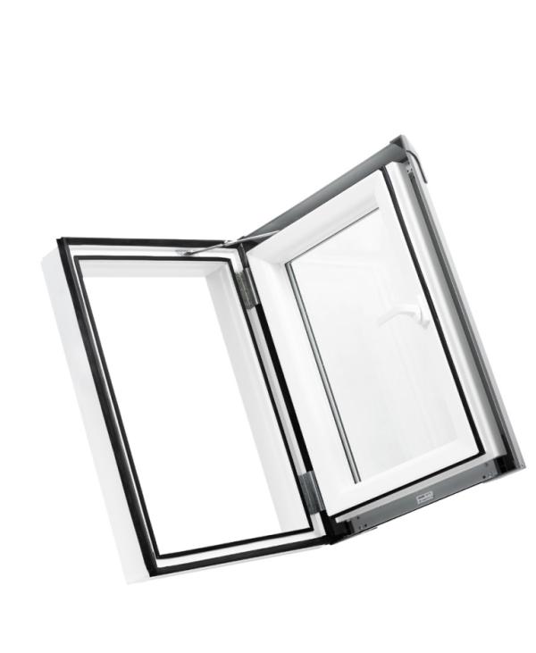 """Plastový strešný výlez PREMIUM 550×780 """"biela"""" - hnedé oplechovanie (8019), otváranie prav, 55cm x 78cm"""